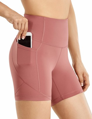 CRZ YOGA Women's Biker Shorts Workout for Women Naked Feeling Athletic Yoga Shorts Tights with Side Pockets-5 Inches Melanite 14