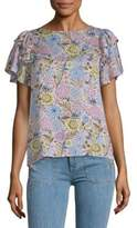 Nanette Lepore Floral Flutter-Sleeve Top