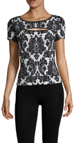 St. John Embroidered Cap Sleeve Top