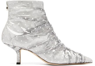 Midnight 00 Antoinette Polka-dot Pvc & Leather Boots - White Multi