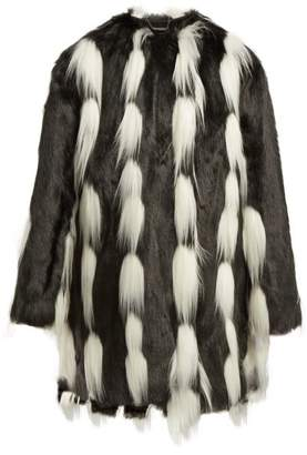 Givenchy Oversized Faux Fur Coat - Womens - Black White