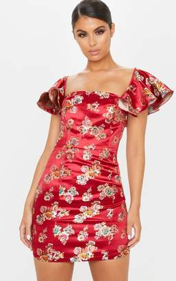 PrettyLittleThing Red Jacquard Frill Sleeve Square Neck Bodycon Dress