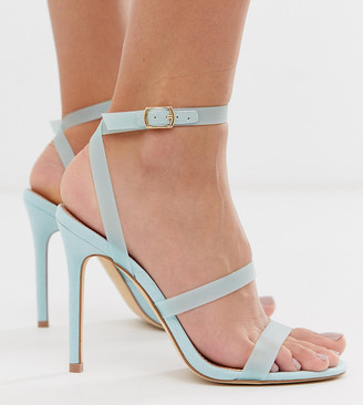 Miss Selfridge strappy heeled sandals in blue-Green