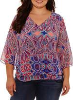 Boutique + + 3/4 Sleeve V Neck Woven Paisley Blouse-Plus