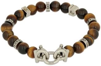 Salvatore Ferragamo 17cm Gancio & Tiger Eye Beads Bracelet