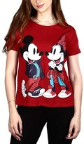 Orange Zone Inc. Women's Tee Shirts Burgundy - Mickey & Minnie Mouse Burgundy Lace-Up Back Tee - Juniors