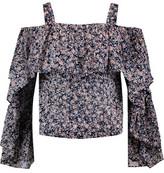 Robert Rodriguez Cold-Shoulder Floral-Print Cotton Top