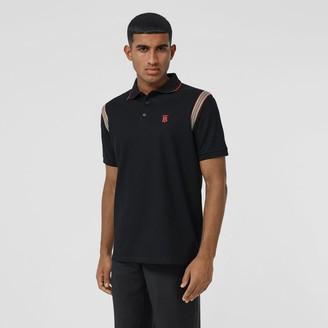 Burberry Icon Stripe Trim Monogram Motif Cotton Poo Shirt