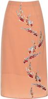 Stella Jean Solare Embroidered Slit Detail Tube Skirt