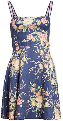 Zimmermann Zinnia Floral Linen Flare Dress
