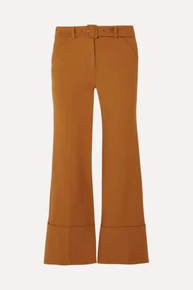 Sara Battaglia Cropped Crepe Flared Pants - Brown