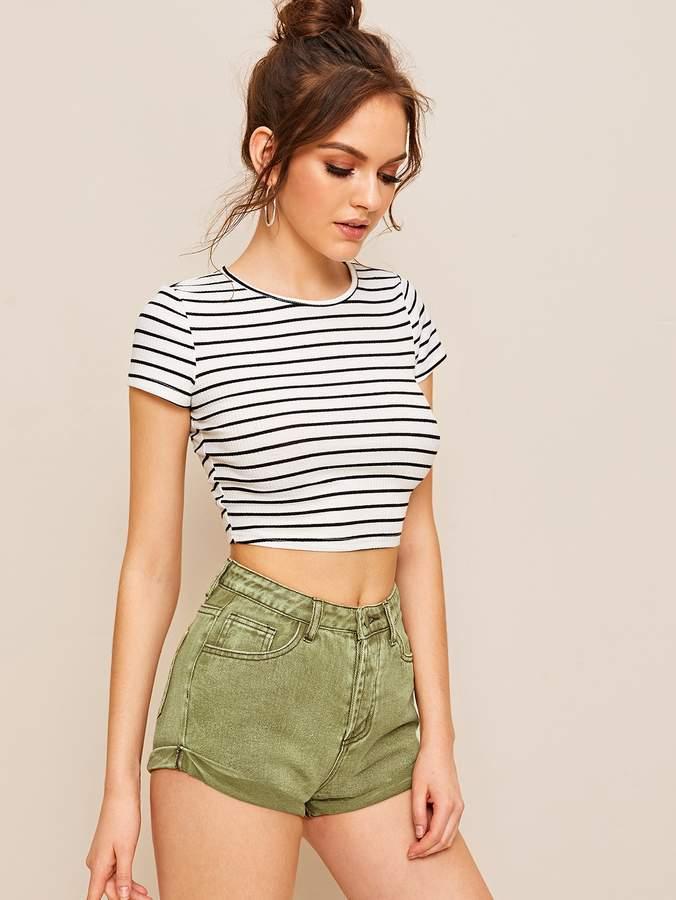65183d670d71 Green Denim Shorts - ShopStyle