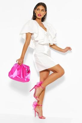 boohoo Woven Plunge Extreme Ruffle Mini Dress