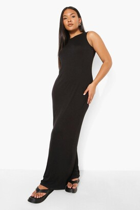 boohoo Plus Racer Neck Jersey Maxi Dress