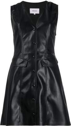 Nanushka flared faux-leather dress
