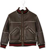 Dondup Kids faux leather bomber jacket