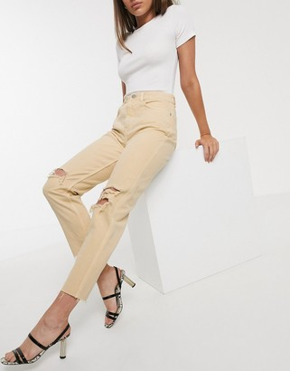 Asos Design DESIGN Ritson Original Mom jeans in yellow with rips
