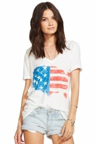 Chaser LA Painted Flag Deep V Tee in White