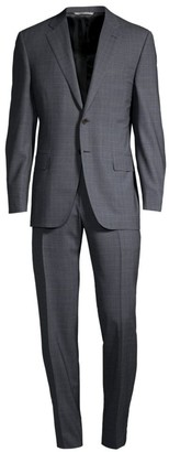 Canali Single-Breasted Wool Windowpane Suit