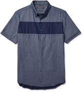 Michael Kors Slim-Fit Button-Down Collar Panelled Chambray Shirt