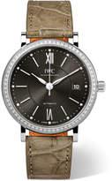 IWC SCHAFFHAUSEN - Portofino Automatic 37 Alligator, Stainless Steel And Diamond Watch - Mushroom