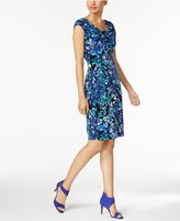 Connected Petite Printed Draped-Neck Sheath Dress