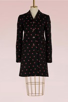 Gucci Wool coat with flower embroidered