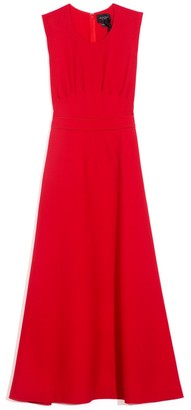 Giambattista Valli Sleeveless Pintuck Waist Dress in Rubino