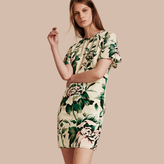 Burberry Peony Rose Silk Shift Dress with Ruffle Sleeves