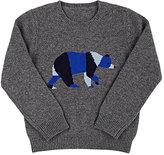 Barneys New York Bear Cashmere Sweater-GREY, BLUE