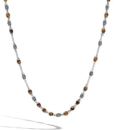 John Hardy Classic Chain Men's Tiger Eye Bead Necklace, Light Brown