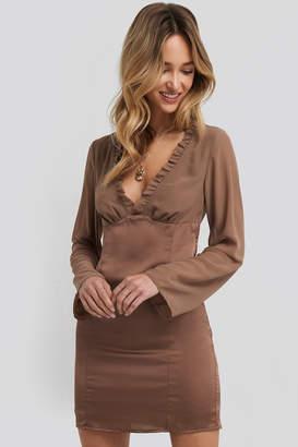NA-KD Adorable Caro X Ruched Neckline Bodycon Dress Brown