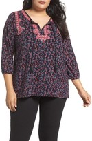 Lucky Brand Plus Size Women's Embroidered Boho Top