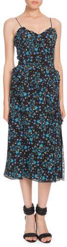 Altuzarra Sleeveless Vine-Print Crepe de Chine Midi Dress
