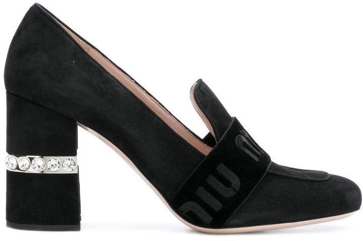 Miu Miu crystal heel logo band loafers