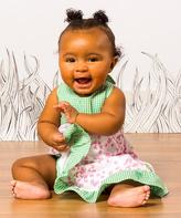 gDiapers Green & Pink Floral Gingham Halter Dress - Infant & Toddler