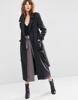 Asos Wool Blend Midi Coat with Tie Belt