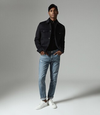 Reiss Jenner - Wool Blend Blouson Jacket in Navy