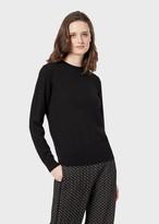 Emporio Armani Plain Knit Pure Virgin Wool Crew-Neck Sweater
