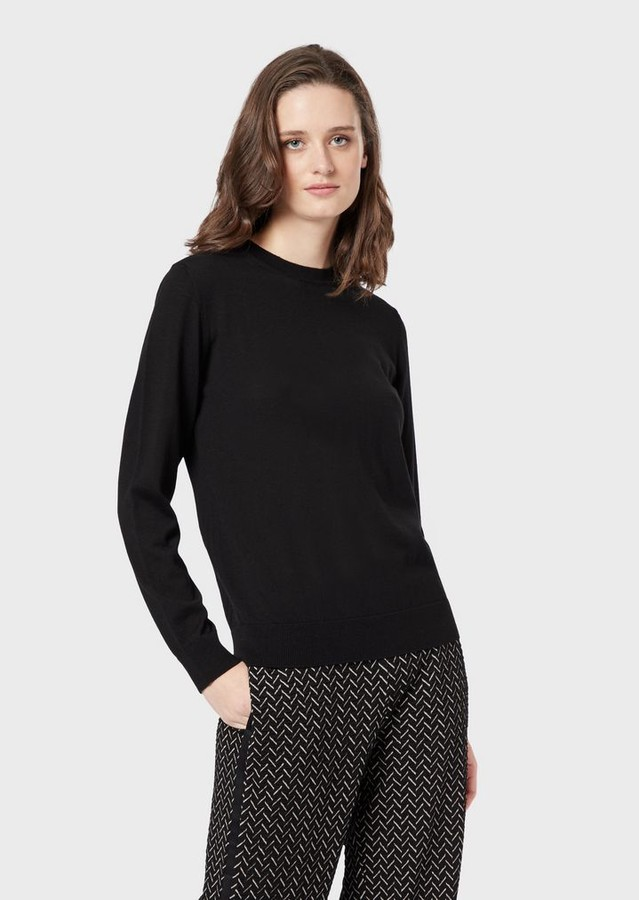 Emporio Armani Plain Knit Pure Virgin Wool Crew-Neck Sweater