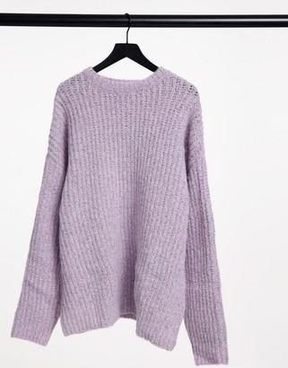 ASOS DESIGN oversized chunky knit sweater in lilac