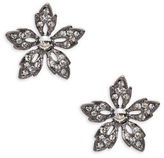 Gerard Yosca Crystal Pave Gunmetal Flower Stud Earrings