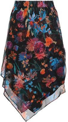 IRO Pretty Asymmetric Layered Floral-print Silk-georgette Skirt