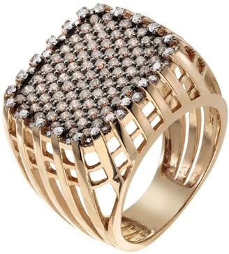 Cédille Cedille Rose Gold and Diamond Into the Essence Cage Ring Size 54