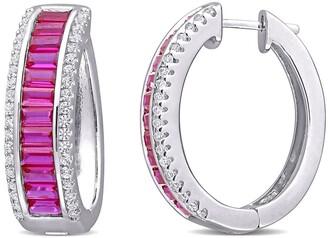 Delmar Sterling Silver Created Ruby & Created White Sapphire 23.5mm Hoop Earrings