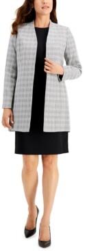 Le Suit Plaid Tweed Jacket Dress Suit