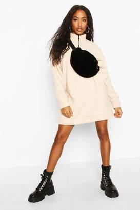 boohoo Fleece Zip High Neck Sweatshirt Dress