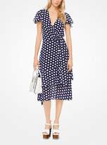 Michael Kors Polka Dot Georgette Wrap Dress