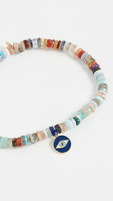 Sydney Evan Tiny Enamel Evil Eye Medallion Bracelet
