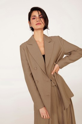 Nasty Gal Womens Business As Usual Oversized Double Breasted Blazer - Brown - 4, Brown